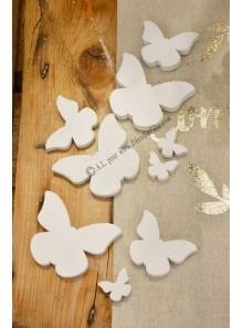 1 assortiment de 20 papillons bois blanc