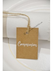 20 étiquettes COMMUNION kraft