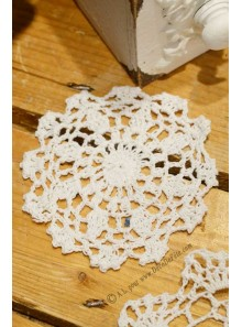 1 napperon crochet 10cm blanc