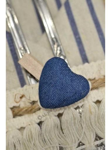 6 Pinces à linge COEUR bleu jeans