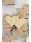 12 double-coeurs en bois naturel 3cm