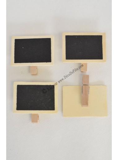 4 mini ardoises naturelles sur pince