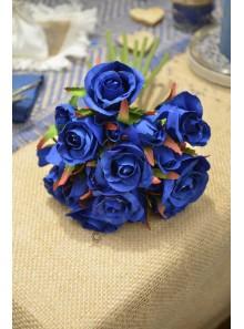 1 bouquet de 18 boutons de roses BLEU roy