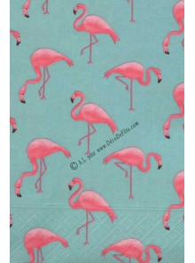 20 serviettes aqua FLAMANTS roses