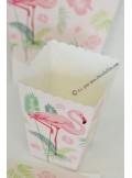 6 boites à pop corn FLAMANTS roses