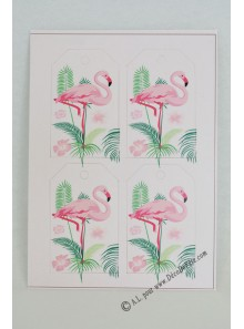 12 etiquettes FLAMANTS roses