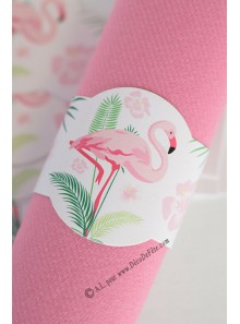 12 ronds de serviette FLAMANTS roses