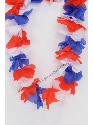 1 collier de fleurs tricolores bleu blanc rouge