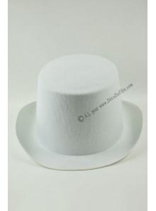 1 chapeau feutre blanc haut de forme