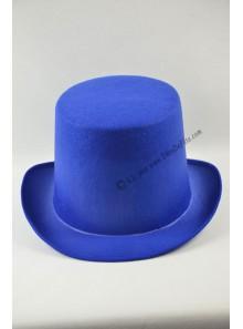 1 chapeau feutre bleu haut de forme