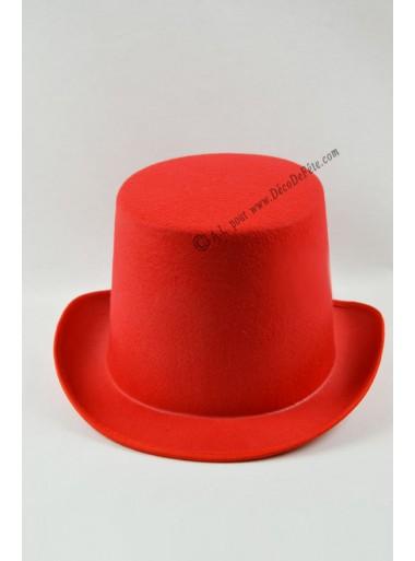 1 chapeau feutre rouge haut de forme