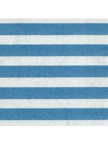 20 Serviettes rayées bleues