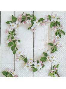 20 serviettes coeur de fleurs de cerisier