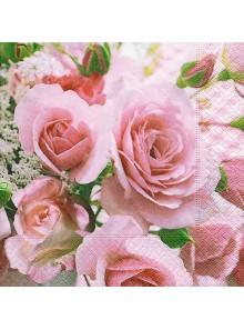 20 serviettes TENDRES ROSES