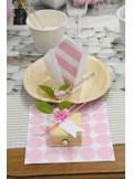 20 serviettes RAYURES rose