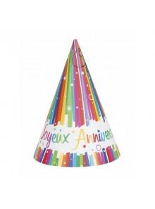 8 chapeaux joyeux anniversaire arc en ciel