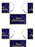 1 guirlande 12 fanions MARINE ET OR Joyeux Anniversaire