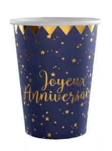 10 gobelets joyeux anniversaire MARINE et OR