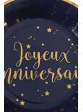 10 Assiettes joyeux anniversaire MARINE et OR