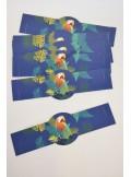 12 ronds de serviette PERROQUETS