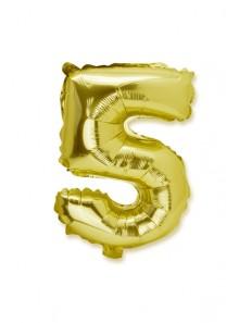 1 géant ballon fun CHIFFRE 5 OR