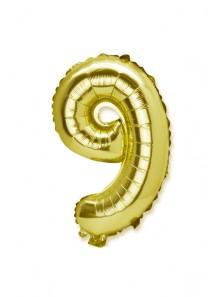 1 géant ballon fun CHIFFRE 9 OR