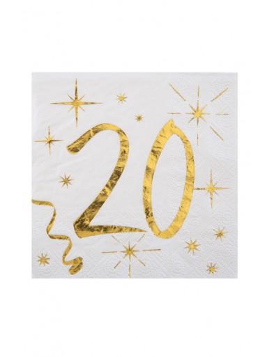 20 serviettes cocktail 20 ans