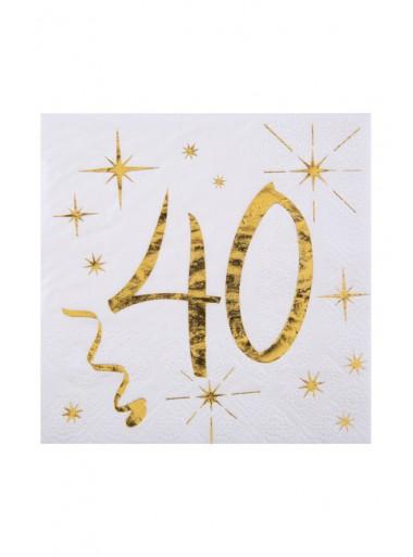 20 serviettes cocktail 40 ans