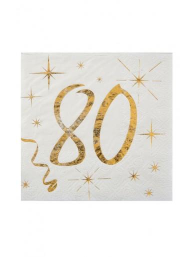 20 serviettes cocktail 80 ans
