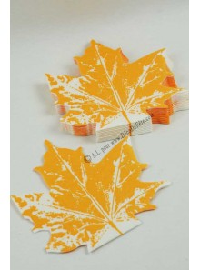 12 Serviettes Feuille de vigne orange