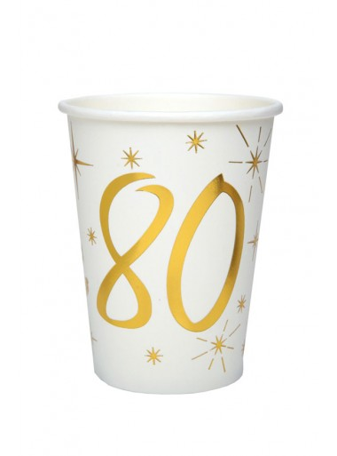 10 gobelets ANNIVERSAIRE 80 OR