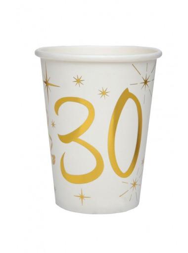 10 gobelets ANNIVERSAIRE 30 OR