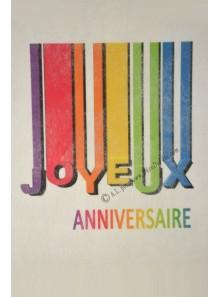 5M Chemin de table Joyeux Anniversaire rainbow BLANC