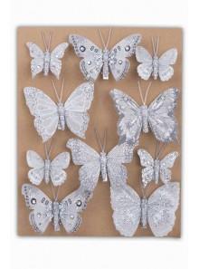 10 jolis papillons paillette GRIS