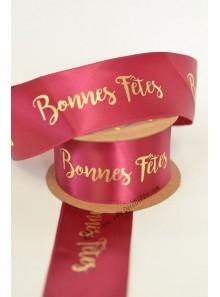 10m Ruban  BONNES FETES bordeaux et or