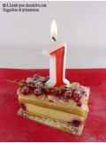 1 Bougie anniversaire chiffre 1