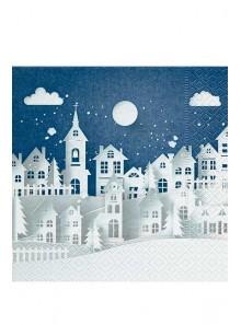 20 Serviettes nuit bleue