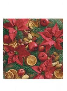 20 Serviettes poinsettias et fruits secs de Noel