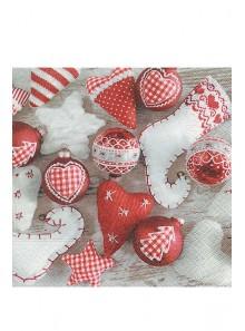 20 Serviettes Noel en rouge et blanc