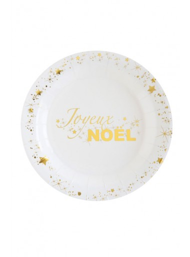 10 petites assiettes Joyeux NOEL OR