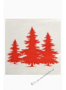 20 Serviettes silhouette SAPIN rouge