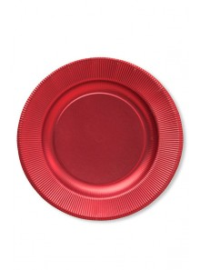 8 grandes assiettes rouge satin
