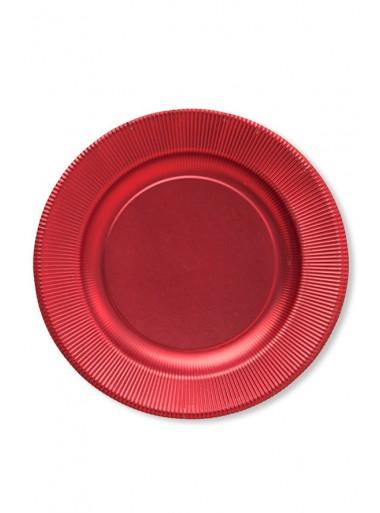 8 grandes assiettes rouge satin