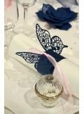 20 ronds de serviettes papillon ROSE