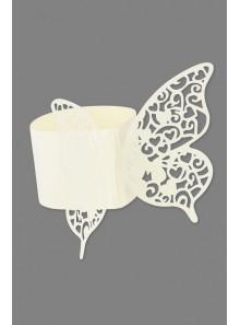 20 ronds de serviettes papillon BLANC