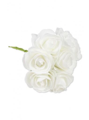 1 bouquet de 8 roses mousse blanches