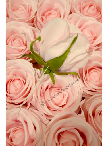 12 GROS boutons de ROSE rose