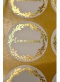 24 stickers Communion blanc et doré