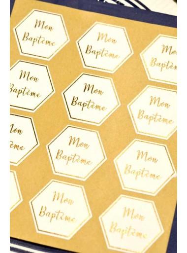 24 stickers mon baptême blanc et or