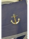 16 Serviettes marine ancre dorée